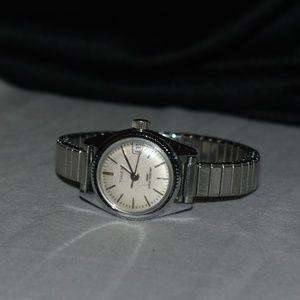 RARE VTG Silver Timex Mechanical Calendar Watch
